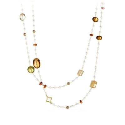 Bijoux Bead Necklace with Olive Quartz and Citrine in 18K Gold