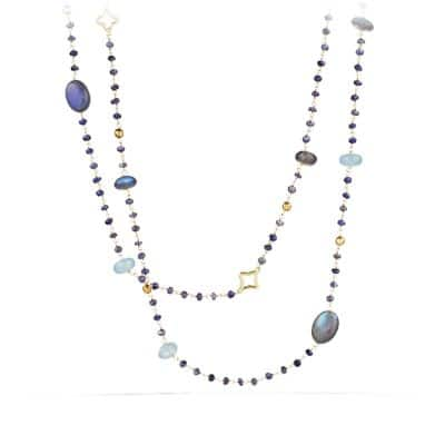 Bijoux Bead Necklace with Labradorite and Milky Aquamarine in 18K Gold