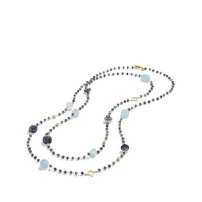 Bead Necklace with Labradorite and Milky Aquamarine in Gold
