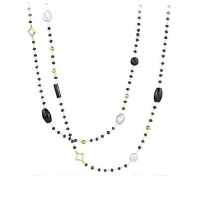 Bead Necklace with Black Onyx and Gray Pearl in Gold