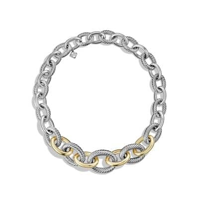 Medium Oval Chain Necklace with 14K Gold