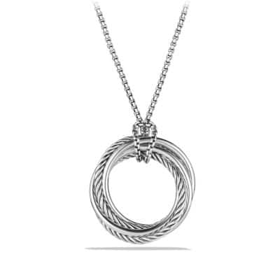 Crossover Pendant Necklace with Diamonds