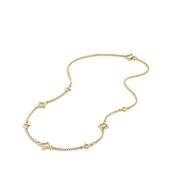 Venetian Quatrefoil Chain Necklace with Diamonds in 18K Gold