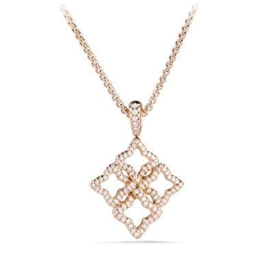 Venetian Quatrefoil Pendant Necklace with Diamonds in 18K Rose Gold
