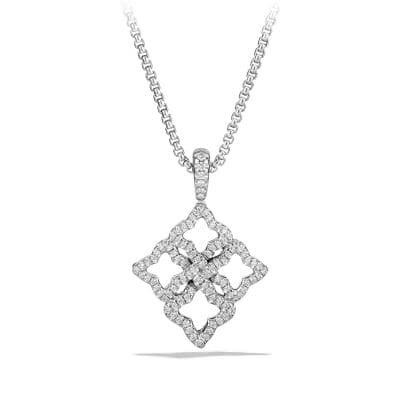 Venetian Quatrefoil Pendant Necklace with Diamonds in 18K White Gold