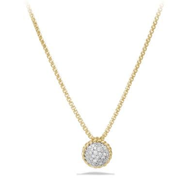 Petite Pave Pendant Necklace with Diamonds in 18K Gold