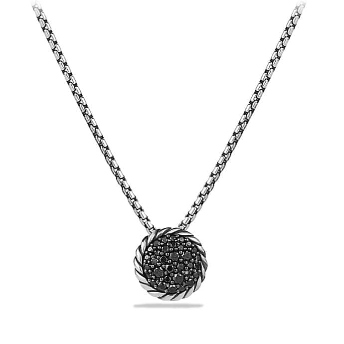 Petite Pavé Pendant Necklace with Black Diamonds