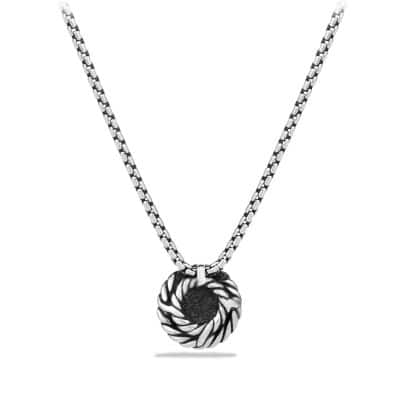 Petite Pave Pendant Necklace with Black Diamonds