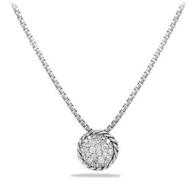 Petite Pave Pendant Necklace with Diamonds