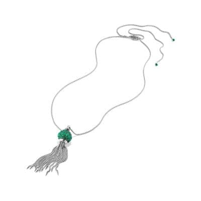 Osetra Tassel Necklace with Green Onyx, 17mm