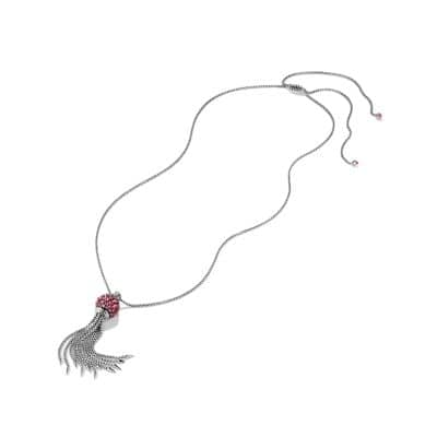 Osetra Tassel Necklace with Rhodalite Garnet, 17mm