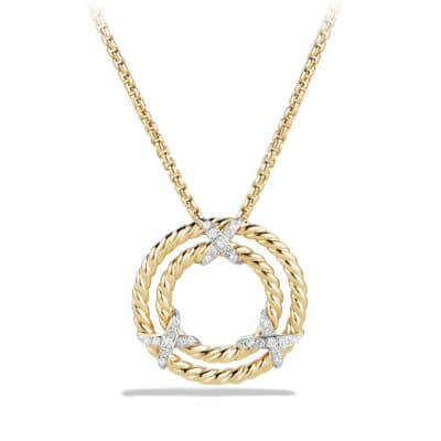 X Circle Pendant Necklace with Diamonds in 18K Yellow Gold