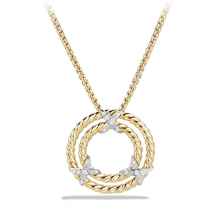 X circle pendant necklace with diamonds in 18k gold x circle pendant necklace with diamonds in 18k yellow gold aloadofball Images