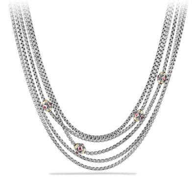 Renaissance Toursade Necklace with Pink Tourmaline, Rhodalite Garnet and 18K Gold