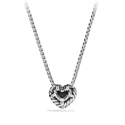 Petite Pave Heart Pendant Necklace with Pink Sapphire
