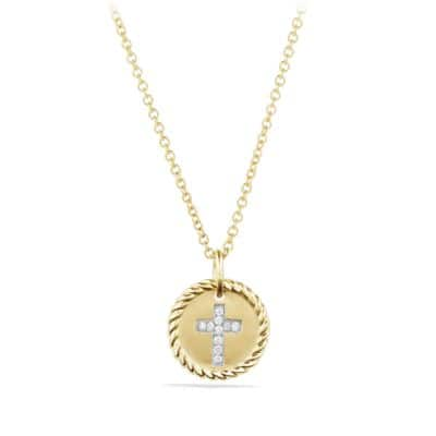 Cable Collectibles Cross Necklace with Diamonds in 18K Gold thumbnail