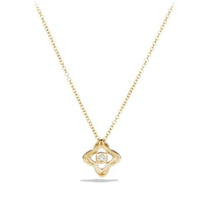 Venetian Quatrefoil Necklace with Aquamarine and Diamonds in 18K Gold