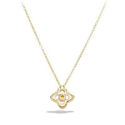 Venetian Quatrefoil Necklace with Citrine and Diamonds in 18K Gold