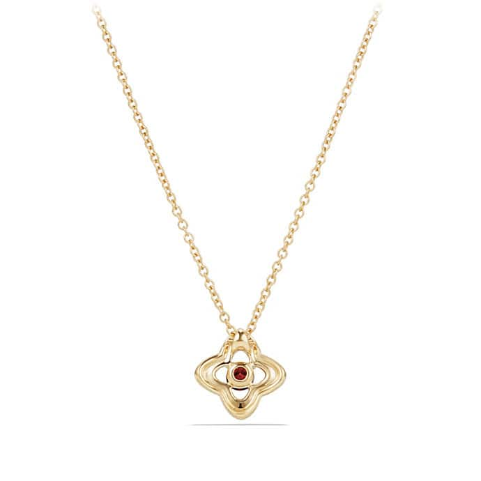 Venetian Quatrefoil Necklace with Garnet and Diamonds in 18K Gold