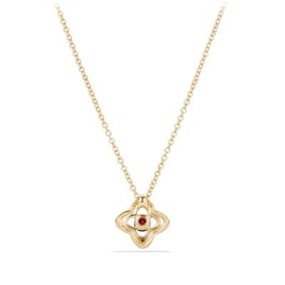 Venetian Quatrefoil® Necklace with Garnet and Diamonds in 18K Gold