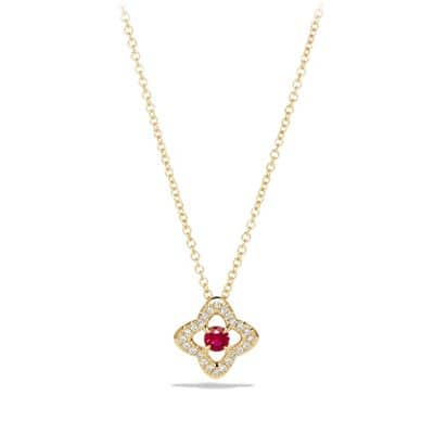 Venetian Quatrefoil® Necklace with Ruby and Diamonds in 18K Gold