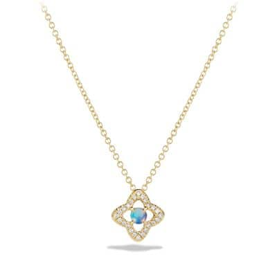 Venetian Quatrefoil® Necklace with Opal and Diamonds in 18K Gold