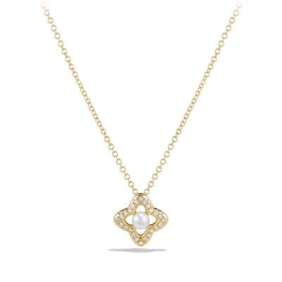Venetian Quatrefoil Necklace with Pearl and Diamonds in 18K Gold