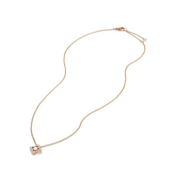 Venetian Quatrefoil Necklace with Diamonds in 18K Rose Gold
