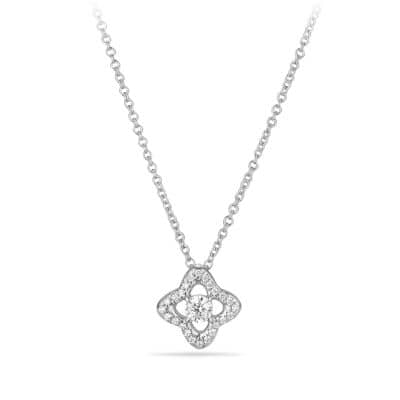 Venetian Quatrefoil Necklace with Diamonds in 18K White Gold