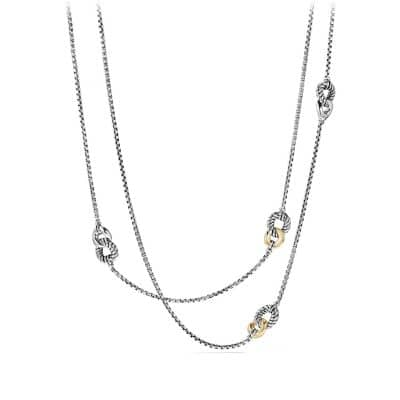 Belmont® Curb Link Four Station Chain Necklace with 18K Gold