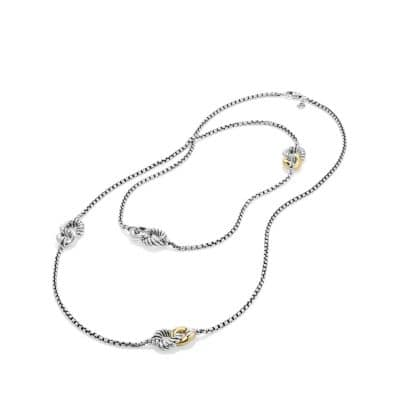 Belmont Curb Link Four Station Chain Necklace with 18K Gold