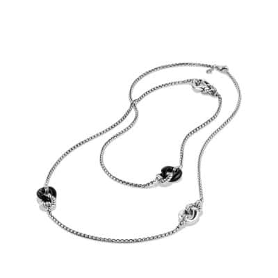 Belmont Curb Link Four Station Chain Necklace with Black Onyx