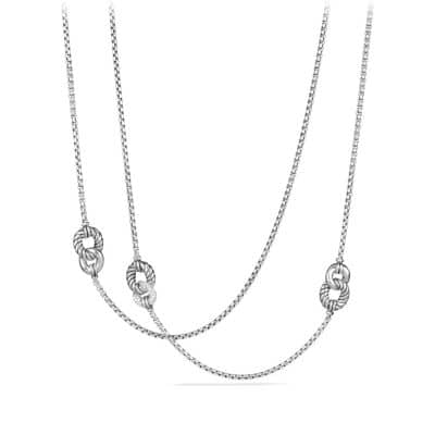 Belmont® Curb Link Four Station Chain Necklace with Diamonds