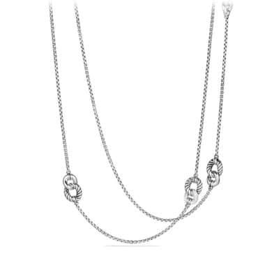Belmont Curb Link Four Station Chain Necklace with Diamonds