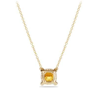 Châtelaine Pendant Necklace with Citrine and Diamonds in 18k Gold, 7mm