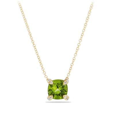 Châtelaine Pendant Necklace with Peridot and Diamonds in 18K Gold, 7mm