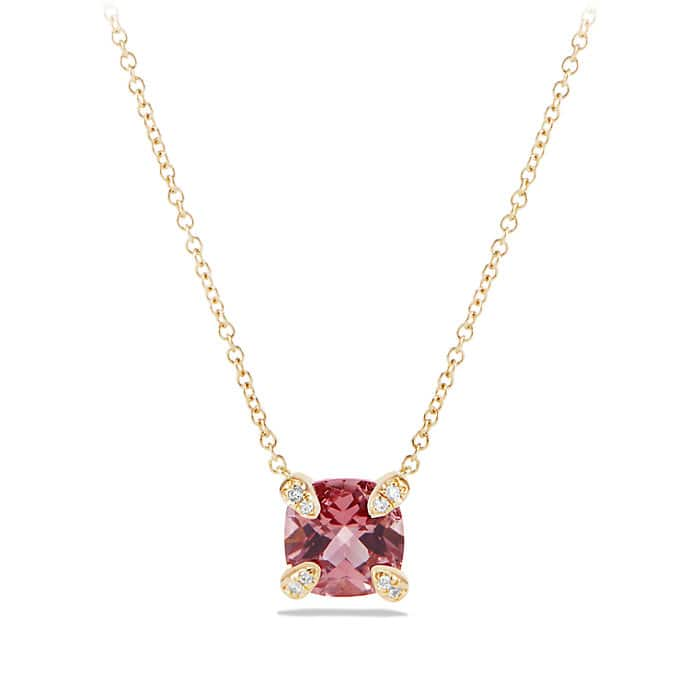 Châtelaine Pendant Necklace with Pink Tourmaline and Diamonds in 18K Gold, 7mm