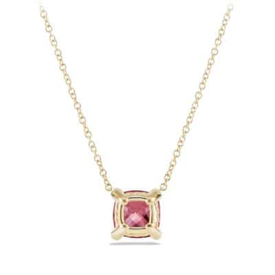 Pendant Necklace with Pink Tourmaline and Diamonds in 18K Gold