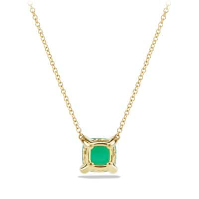 Châtelaine Pendant Necklace with Chrysoprase and Diamonds in 18K Gold, 7mm