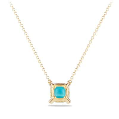 Chatelaine Pendant Necklace with Turquoise and Diamonds in 18K Gold, 7mm
