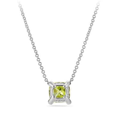 Châtelaine Pendant Necklace with Peridot and Diamonds in 18K White Gold, 7mm