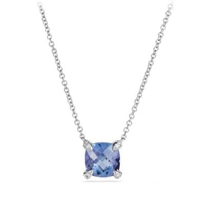 Chatelaine Pendant Necklace with Tanzanite and Diamonds in 18K White Gold, 7mm