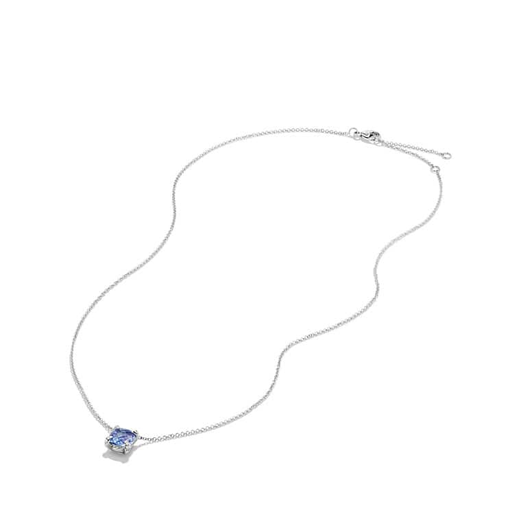Châtelaine Pendant Necklace with Tanzanite and Diamonds in 18K White Gold, 7mm