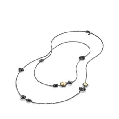 Châtelaine Layering Necklace with Black Onyx, Black Diamonds and 18K Gold