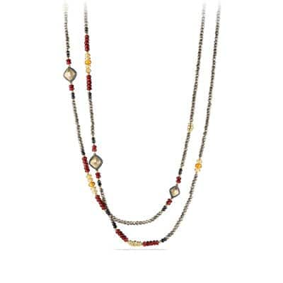 Bijoux Bead Necklace with Pyrite, Garnet and Citrine in 18K Gold
