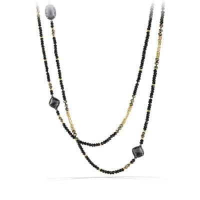 Bijoux Necklace with Hematine, Black Spinel, Pyrite and 18K Gold