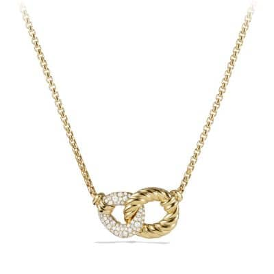 Belmont Double Curb Link Necklace with Diamonds in 18K Gold