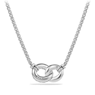Belmont Double Curb Link Necklace with Diamonds