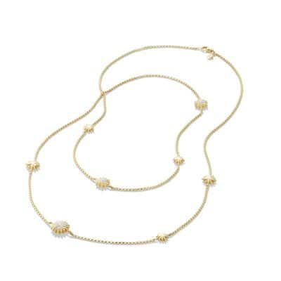 Starburst Station Chain Necklace with Diamonds in 18K Gold