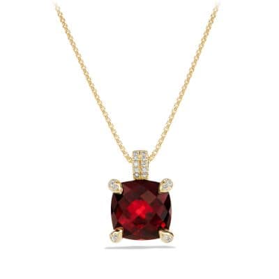 Chatelaine Pendant Necklace with Garnet and Diamonds in 18K Gold, 11mm
